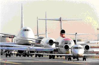Jumbo Jets waiting for take-off