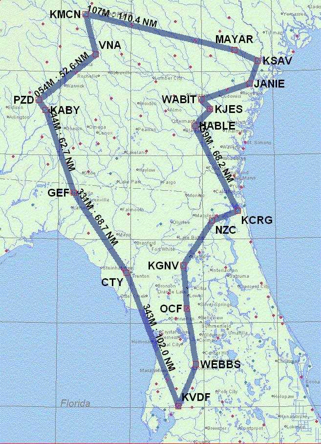 Map of IFR Adventure Trip #38