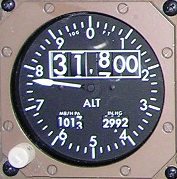 Airplane altimeter showing 31,800 feet.
